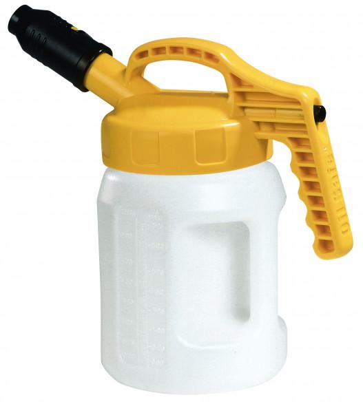Öl-Kanne aus HDPE 2 Liter mit gelbem Deckel und kurzer Auslauftülle, Polyethylen (high density)