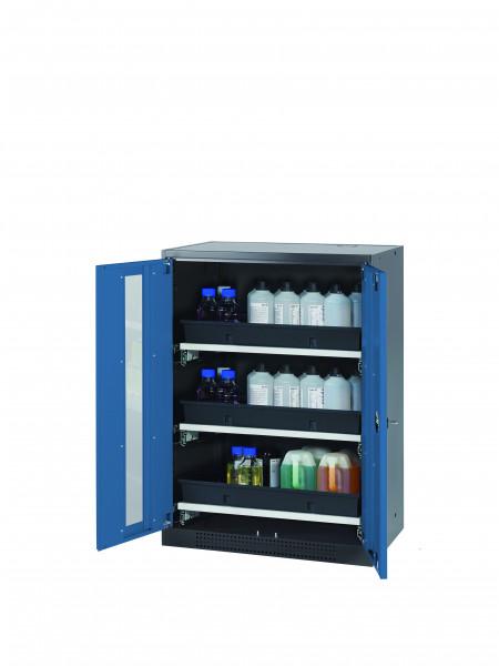 Chemikalienschrank CS-CLASSIC-G Modell CS.110.081.WDFW in enzianblau RAL 5010 mit 3x Tablarauszug AbZ (Stahlblech/Polypropylen)