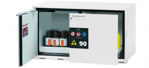 Typ 90 Sicherheitsunterbauschrank UB-ST-90 Modell UB90.060.110.050.ST in laborweiss (ähnl. RAL 9016) mit 1x Lochblecheinsatz Standard (Stahlblech)
