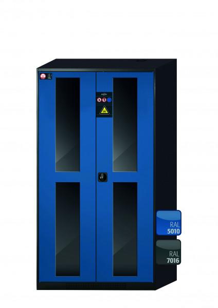 Chemikalienschrank CS-CLASSIC-G Modell CS.195.105.WDFW in enzianblau RAL 5010 mit 4x Tablarauszug AbZ (Stahlblech/Polypropylen)