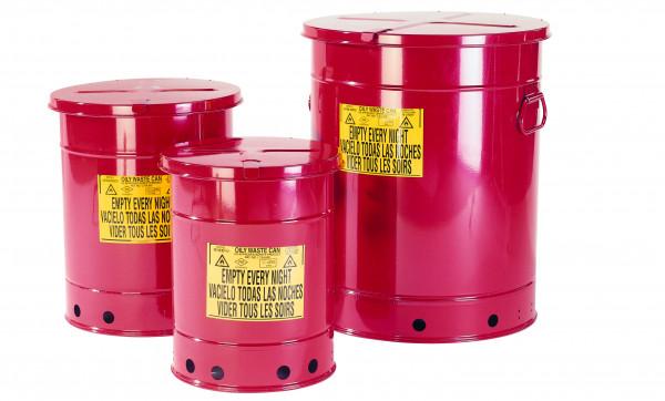 Entsorgungsbehälter, 20 L, rot, Handbedienung, Stahlblech verzinkt und lackiert