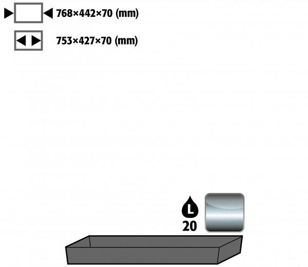 Bodenauffangwanne STAWA-R (Volumen: 22,00 Liter) für Modell(e): UB90 mit Breite 890/1400 mm, Edelstahl 1.4301 roh
