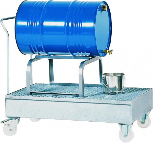 Auffangwanne fahrbar Stahl mit verzinktem Gitterrost 1700x815x995, Stahl verzinkt