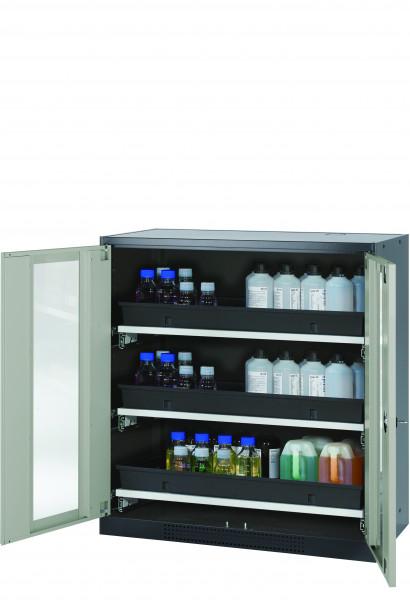 Chemikalienschrank CS-CLASSIC-G Modell CS.110.105.WDFW in lichtgrau RAL 7035 mit 3x Tablarauszug AbZ (Stahlblech/Polypropylen)