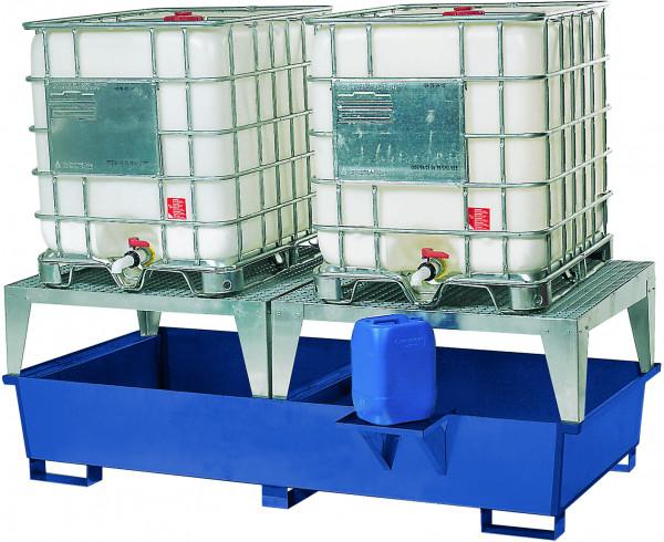 KTC/IBC-Station Stahl mit 2 Abfüllböcken 2680x1300x950, Stahl lackiert