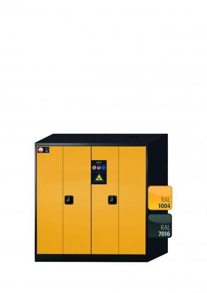 Chemikalienschrank CS-PHOENIX Modell CS.110.105.FD in sicherheitsgelb RAL 1004 mit 3x Tablarauszug AbZ (Stahlblech/Polypropylen)