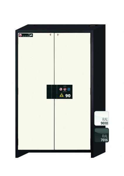 Typ 90 Sicherheitsschrank Q-CLASSIC-90 Modell Q90.195.120 in reinweiss RAL 9010 mit 5x Auszugswanne Standard (Edelstahl 1.4301)