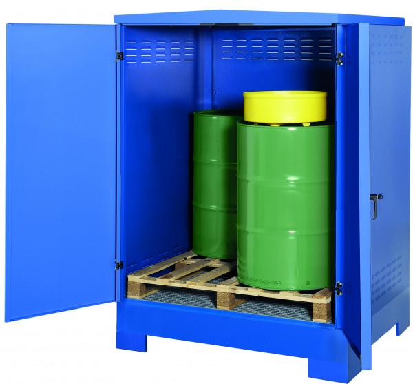 Depot unterfahrbar Stahlblech mit verzinktem Gitterrost 1425x1350x1810, Stahlblech lackiert
