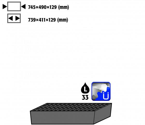 Bodenauffangwanne STAWA-R mit Gitterrost (Volumen: 33,00 Liter) für Modell(e): CS mit Breite 810 mm, Stahlblech verzinkt und lackiert
