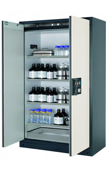 Typ 90 Sicherheitsschrank Q-CLASSIC-90 Modell Q90.195.120 in reinweiss RAL 9010 mit 4x Fachboden Standard (Edelstahl 1.4301)