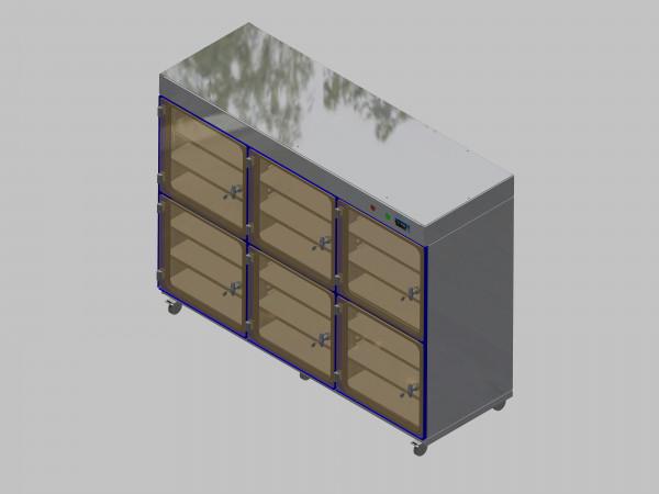Trockenlagerschrank-ITN-1800-6 mit 3 Tablaren und Regelung der Schrankatmosphäre pro Schrank und Sockelausführung mit Rollen