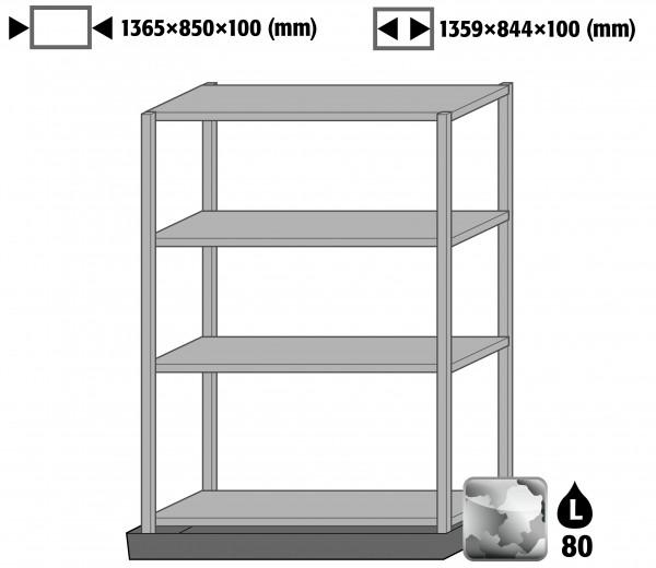 Bodenauffangwanne mit Regal (4 Böden, Tiefe = 600 mm) (Volumen: 66,00 Liter) für Modell(e): XL90 mit Breite 1555 mm, Stahl verzinkt