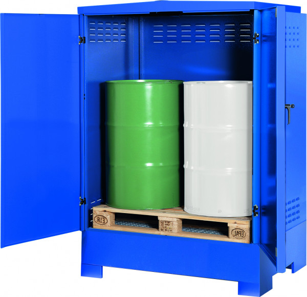 Depot unterfahrbar Stahlblech mit verzinktem Gitterrost 1425x960x1870, Stahlblech lackiert