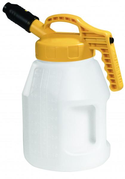Öl-Kanne aus HDPE 5 Liter mit gelbem Deckel und kurzer Auslauftülle, Polyethylen (high density)
