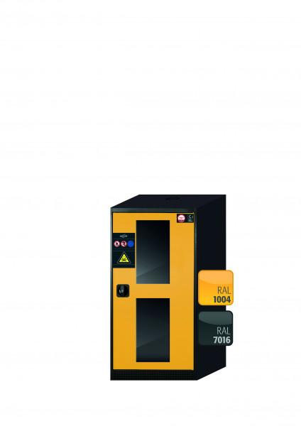 Chemikalienschrank CS-CLASSIC-G Modell CS.110.054.WDFWR in sicherheitsgelb RAL 1004 mit 3x Tablarauszug AbZ (Stahlblech/Polypropylen)