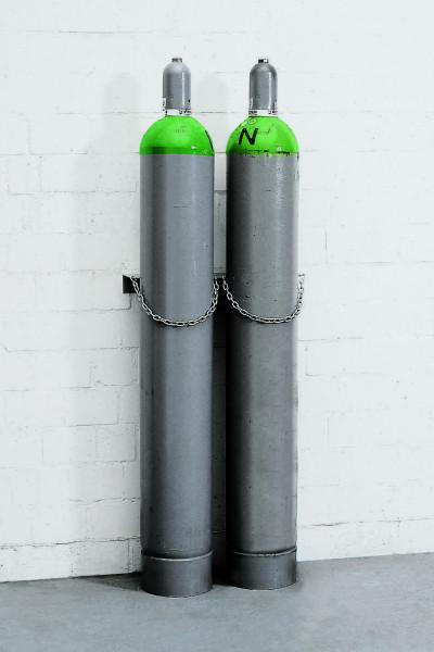 Gasflaschen-Wandhalterung aus Stahl für 2 Flaschen à Ø 230 mm, Stahl verzinkt