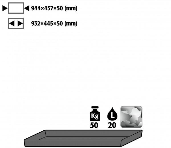 Wannenboden Standard (Volumen: 20,00 Liter) für Modell(e): E, EP mit Breite 950 mm, Stahlblech verzinkt