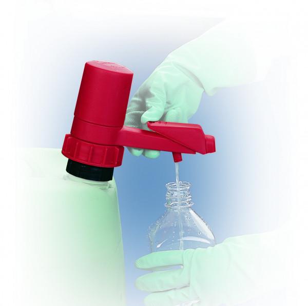 Behälterpumpe aus PP, PE, FKM für Gebinde bis 60 Liter, Rot, Polypropylen