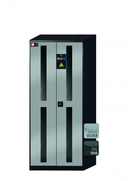 Chemikalienschrank CS-CLASSIC-G Modell CS.195.081.WDFW in asecos Silber mit 6x Tablarauszug AbZ (Stahlblech/Polypropylen)