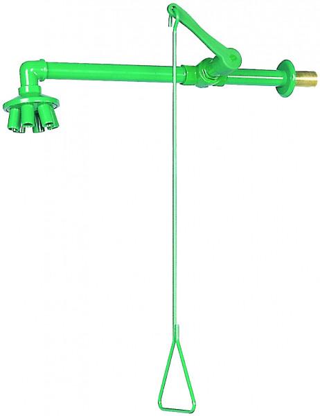 Körpernotdusche mit Zugstange, Wandmontage, Grün, Stahl pulverbeschichtet glatt