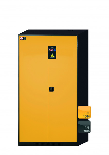 Chemikalienschrank CS-CLASSIC Modell CS.195.105 in sicherheitsgelb RAL 1004 mit 5x Tablarauszug AbZ (Stahlblech/Polypropylen)