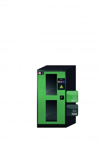 Chemikalienschrank CS-CLASSIC-G Modell CS.110.054.WDFW in resedagrün RAL 6011 mit 3x Tablarauszug AbZ (Stahlblech/Polypropylen)
