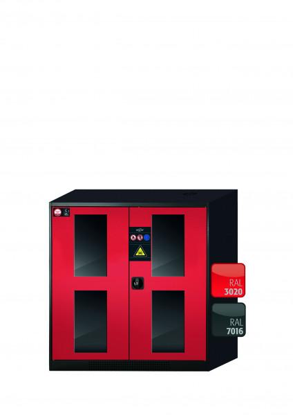 Chemikalienschrank CS-CLASSIC-G Modell CS.110.105.WDFW in verkehrsrot RAL 3020 mit 3x Tablarauszug AbZ (Stahlblech/Polypropylen)