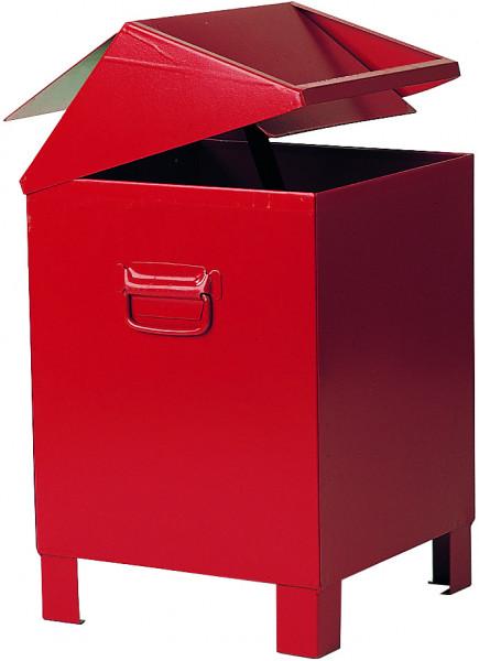 Entsorgungsbehälter aus Stahlblech (rot), 73 Liter, Stahlblech lackiert