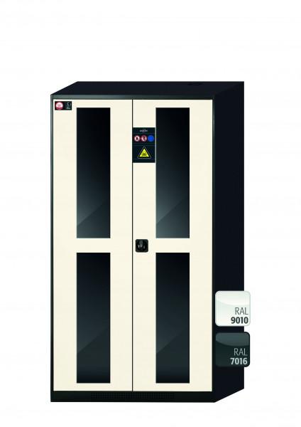 Chemikalienschrank CS-CLASSIC-G Modell CS.195.105.WDFW in reinweiss RAL 9010 mit 6x Tablarauszug AbZ (Stahlblech/Polypropylen)
