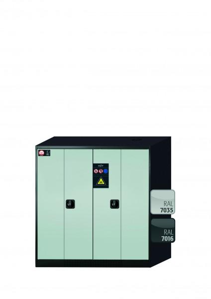 Chemikalienschrank CS-PHOENIX Modell CS.110.105.FD in lichtgrau RAL 7035 mit 3x Tablarauszug AbZ (Stahlblech/Polypropylen)
