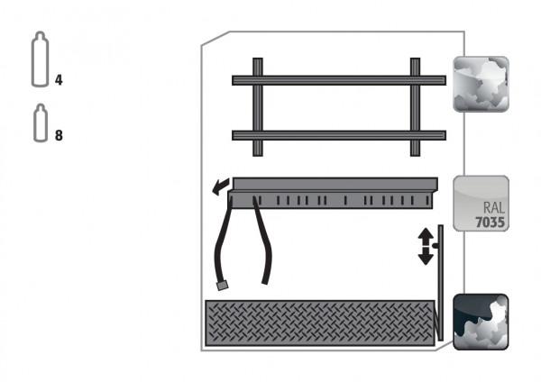 Komfortinneneinrichtung Druckgasflaschen für Modell(e): G90 mit Breite 1400 mm, Stahlblech verzinkt und pulverbeschichtet