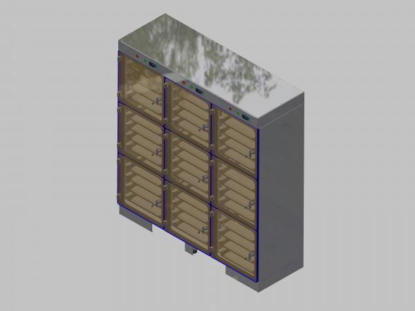 Trockenlagerschrank-ITN-1800-9 mit 4 Schubladen und Regelung der Schrankatmosphäre pro Vertikalkompartiment und Sockelausführung unterfahrbar mit Stellfüssen