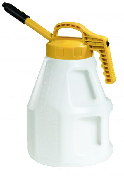 Öl-Kanne aus HDPE 10 Liter mit gelbem Deckel und langer Auslauftülle, Polyethylen (high density)