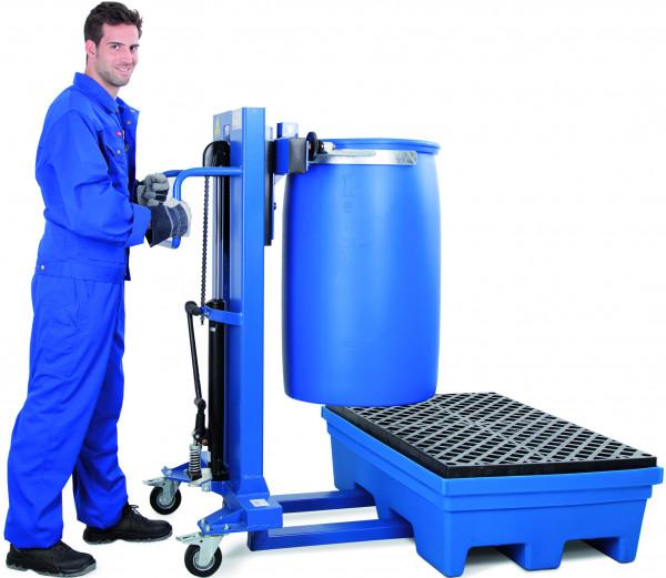 Fasslifter Servo mit Klammer für Kunststofffässer, Stahl lackiert