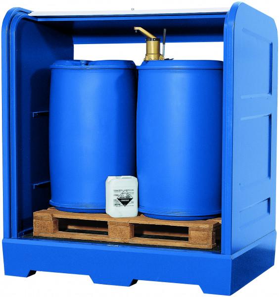 Depot unterfahrbar PE-LD mit PE-Gitterrost 1560x1030x1670, Polyethylen (low density)