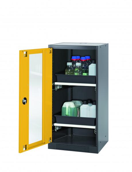 Chemikalienschrank CS-CLASSIC-G Modell CS.110.054.WDFW in sicherheitsgelb RAL 1004 mit 2x Tablarauszug AbZ (Stahlblech/Polypropylen)