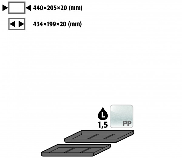 Einlegewanne für 2. Auszugs-Ebene (VE 1, empf. Ausstattung 2 Stück) (Volumen: 1,50 Liter) für Modell(e): UB90, UB30 mit Breite 1100/1400 mm, Polyethylen roh