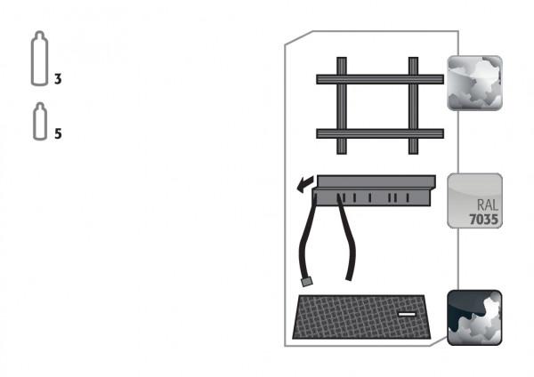 Standardinneneinrichtung Druckgasflaschen für Modell(e): G90 mit Breite 900 mm, Stahlblech verzinkt und pulverbeschichtet
