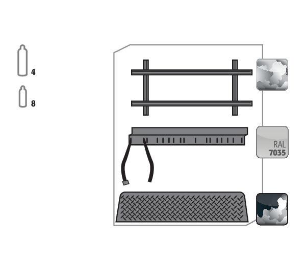 Standardinneneinrichtung Druckgasflaschen für Modell(e): G30 mit Breite 1400 mm, Stahlblech verzinkt und pulverbeschichtet
