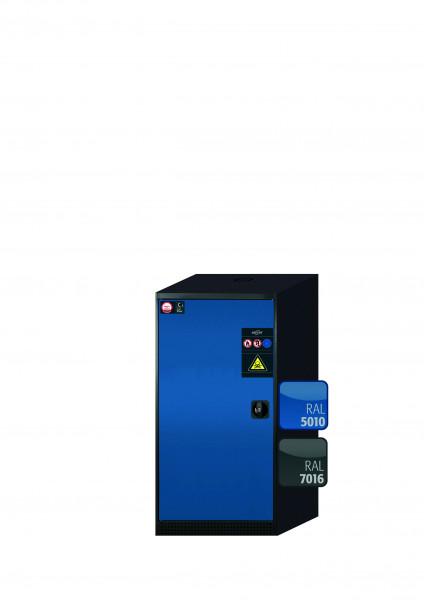 Chemikalienschrank CS-CLASSIC Modell CS.110.054 in enzianblau RAL 5010 mit 2x Tablarauszug AbZ (Stahlblech/Polypropylen)