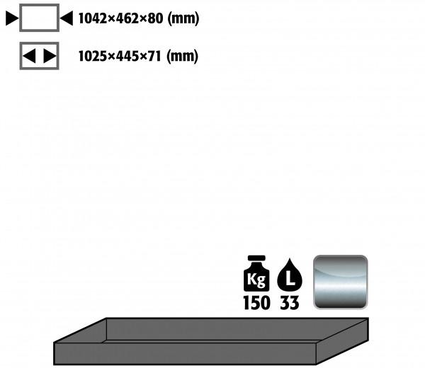 Wannenboden Standard (Volumen: 33,00 Liter) für Modell(e): Q90, S90 mit Breite 1200 mm, Edelstahl 1.4016 roh