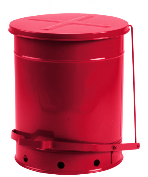 Entsorgungsbehälter, 52 L, rot, Fusspedal, Stahlblech verzinkt und lackiert