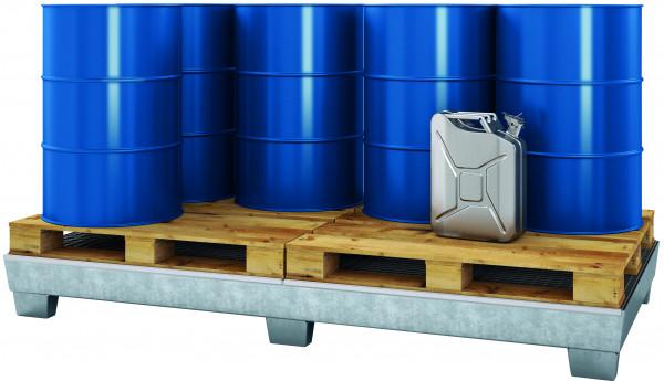 Auffangwanne Stahl mit verzinktem Gitterrost 1210x2455x250, Stahl verzinkt