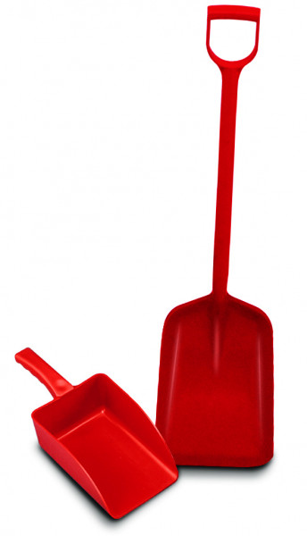 Kunststoffschaufel aus PP, Rot für Granulate, Polypropylen