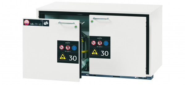 Typ 30 Sicherheitsunterbauschrank UB-S-30 Modell UB30.060.110.2S in laborweiss (ähnl. RAL 9016) mit 2x Schubladenwanne STAWA-R (Edelstahl 1.4301)