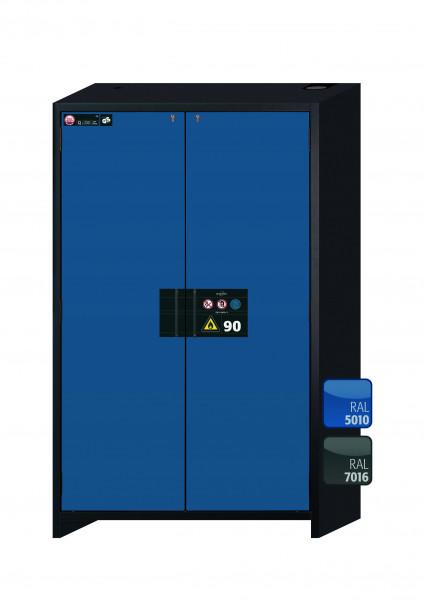 Typ 90 Sicherheitsschrank Q-CLASSIC-90 Modell Q90.195.120 in enzianblau RAL 5010 mit 2x Auszugswanne Standard (Stahlblech)