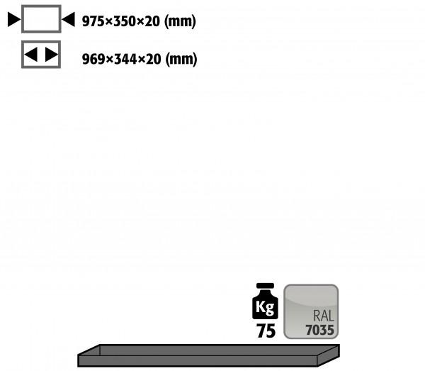 Fachboden Standard für Modell(e): UB90 mit Breite 1100 T=500 mm, Stahlblech pulverbeschichtet glatt