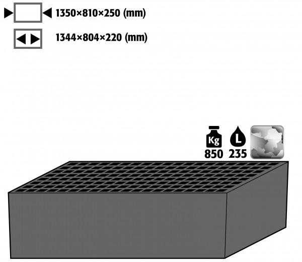 Bodenauffangwanne mit Gitterrost (Volumen: 235,00 Liter) für Modell(e): XL90 mit Breite 1555 mm, Stahlblech verzinkt