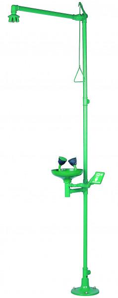 Körper- und Augennotduschenkombination, Standmodell, Grün, Stahl pulverbeschichtet glatt
