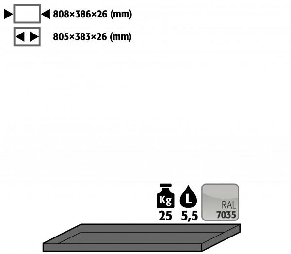 Wannenboden Standard (Volumen: 8,50 Liter) für Modell(e): E, EP, EM mit Breite 950 mm, Stahlblech pulverbeschichtet glatt